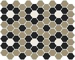 Classic Mosaic Tiles - Palasade 25 Light Grey with Black and White Pattern