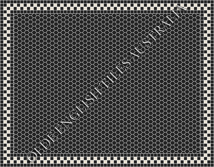- Plain Hexagon 25 Black Mosaics