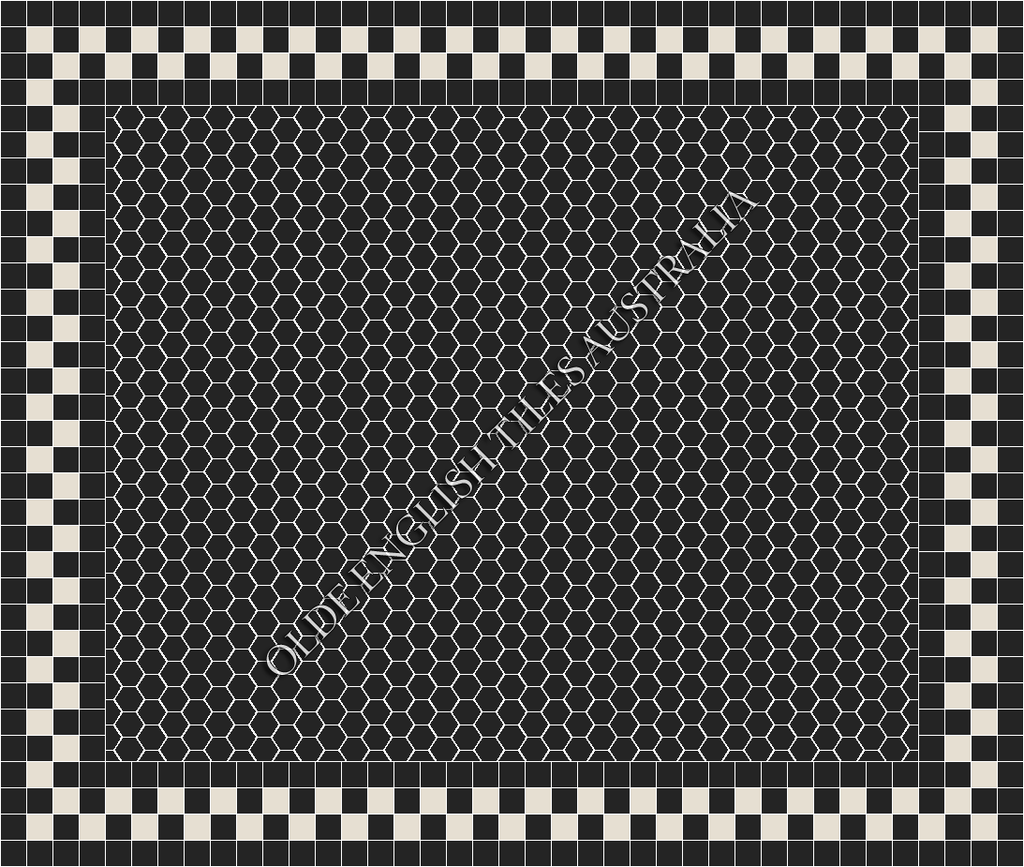 - Plain Hexagon 50 Black Mosaics