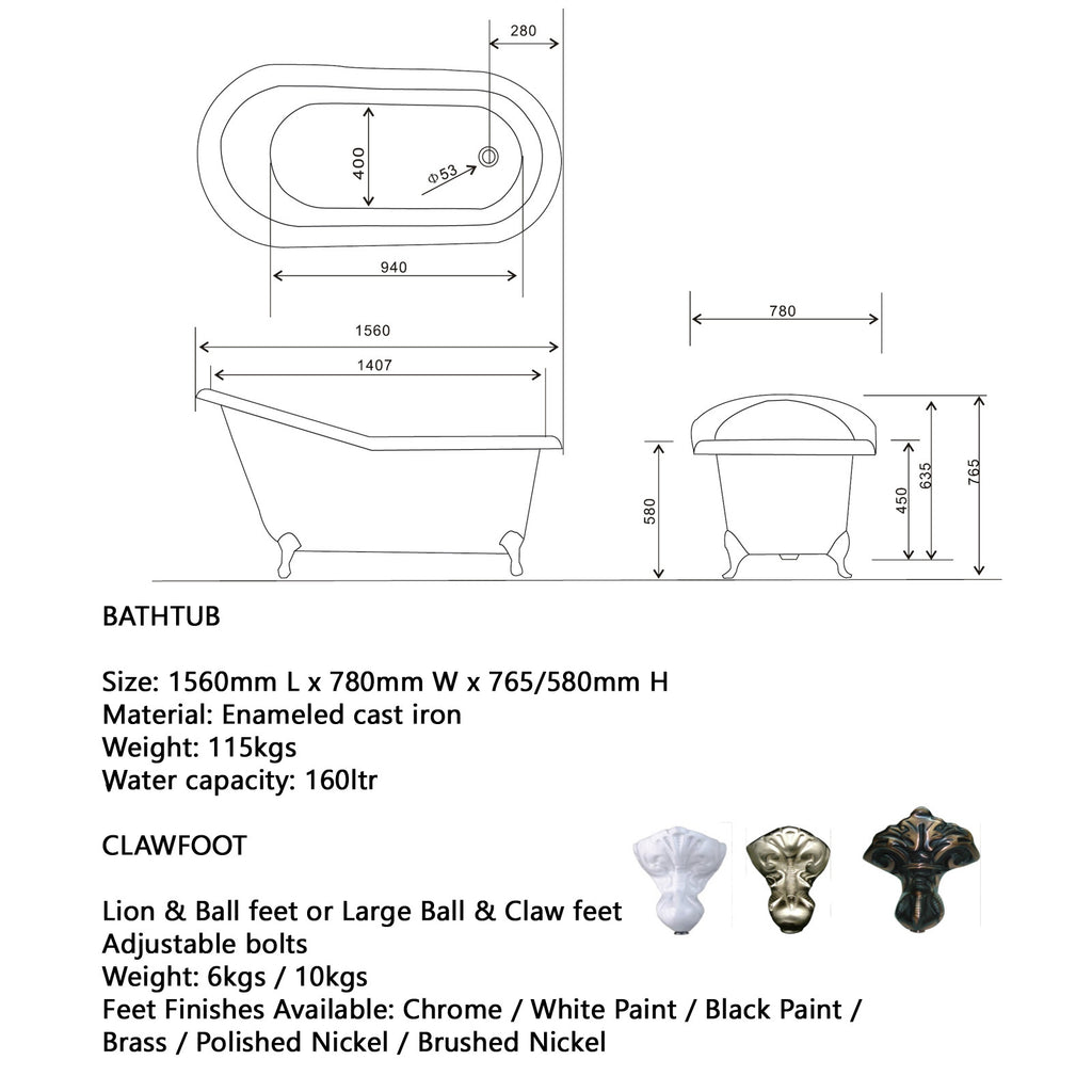 Traditional and Contemporary Baths - Slipper 1560 or 1700 Cast Iron bath
