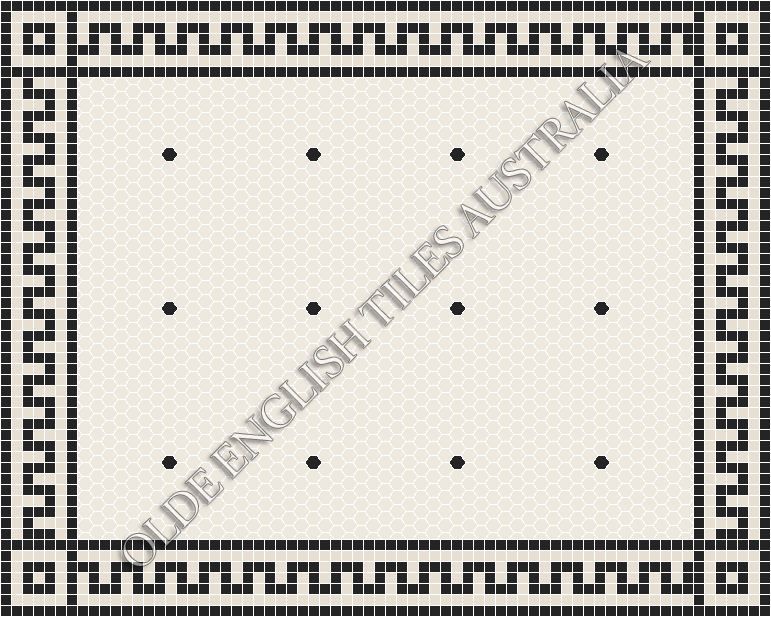 Classic Mosaic Tiles - Tiffany 25 White with Black Pattern