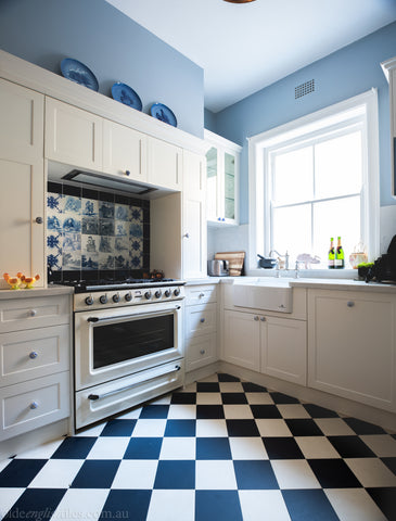Checkerboard kitchen in Mosman home