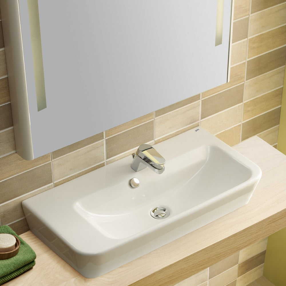 Emma Square Toilets, Bidet & Basin Range - Emma Square Wall hung or over counter asymmetric Right Hand basin
