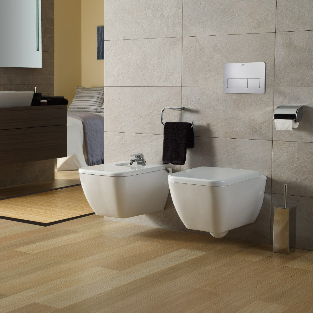 Emma Square Toilets, Bidet & Basin Range -  Emma Square Wall hung Bidet for over rim water supply