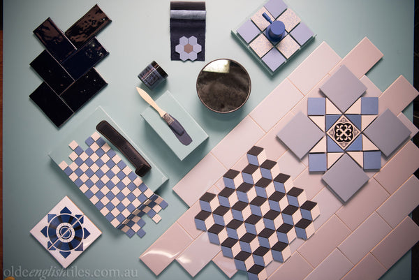 Art Deco Wall Tiles Shades of blue