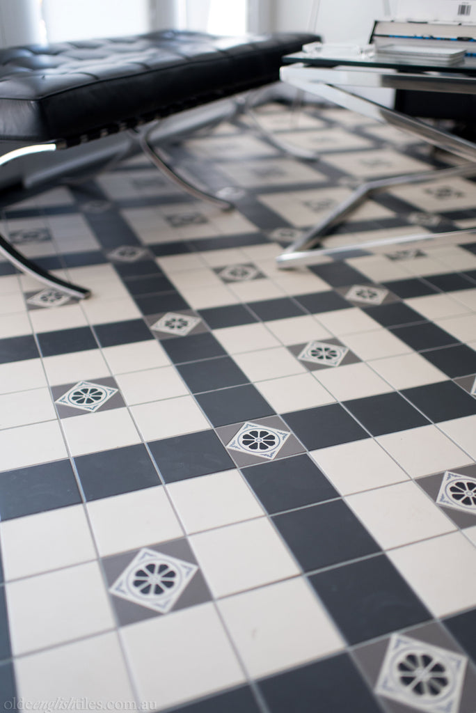 Olde English Tiles – Special custom pattern. Gorgeous Living Area