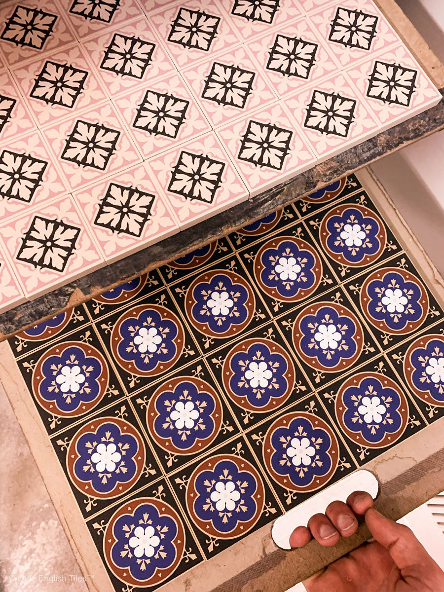 Hand printed encaustic tiles