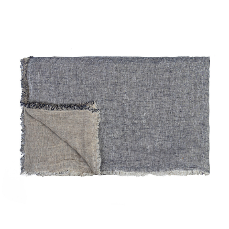 Kent Linen Throw - Indigo/Linen