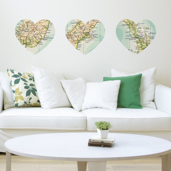 Heart Map Wall Stickers
