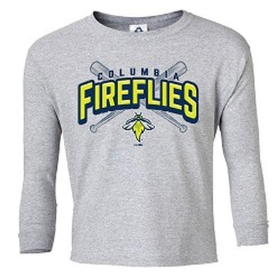 Columbia Fireflies Youth Heather Grey Longsleeve Bonkers Tee