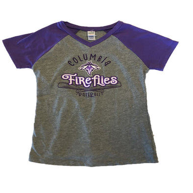 Columbia Fireflies Youth Girl's Grey/Grape Quail V-Neck Tee