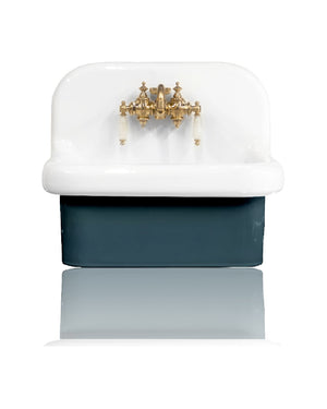"NEW Small Wall Mount High Back Bath Sink Deep Basin 22"" Farm Sink Package, Navy/Brass"