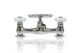 Chrome Deck-Mount Short Swivel Spout Utility Bridge Faucet Porcelain Cross Handle Soap Dish w/ Conversion Kit