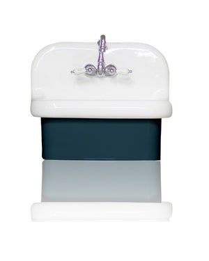 "NEW Small Wall Mount High Back Bath Sink Antique Inspired Deep Basin Porcelain 22"" Farm Sink Package, Navy"