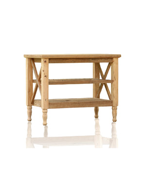 "43.25"" Hand Crafted Barn Wood Table French Provincial Design Reclaimed Wood Kitchen Island"