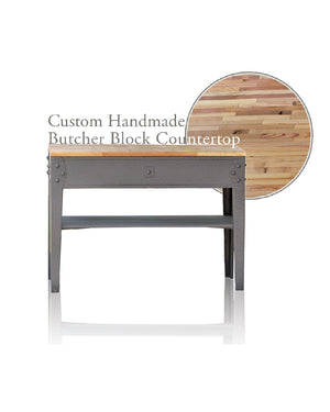 "Grey Cast Iron Framed 49"" Farmhouse Wood Kitchen Island Handmade Reclaimed Barn Wood Butcher Block Top"