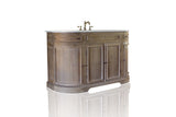 "Light Reclaimed Fir Large 60"" French Provincial Rounded Corner Demilune Cabinet Console Single Bath Vanity"