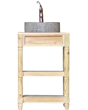"Small 24"" Reclaimed Wood Bath Vanity Marble Vessel Sink Open Shelf Single Bath Console Package"