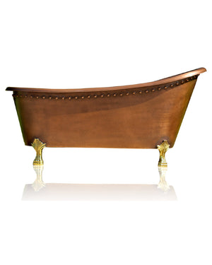 "Large Solid Copper 64"" Antique Inspired Rolled Rim Slipper Clawfoot Bathtub Package Brass Feet"