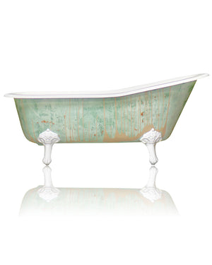 "New Single Slipper 67"" Cast Iron Clawfoot Bathtub Trompe L\'Oeil Antiqued Lagniappe Freestanding Claw Tub Package, Monet Green"