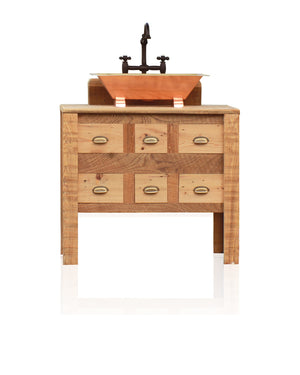 "36"" Reclaimed Wood Single Apothecary Chest Bath Vanity 24"" Copper Trough Sink Package"