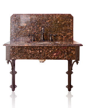 Wall Mount Bracket Bathroom Vanity Victorian Inspired Marble Top High Back Bath Lavatory Package
