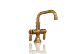 Artisan Aged Single Hole Deck Mount Unlaquered Natural Brass Faucet - 6 inch Spout w/ Lever Handles
