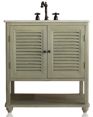 "Small 34"" Farmhouse Style Two Shutter Single Bath Vanity Light Birch Marble Top Carved Leg Open Shelf Console"