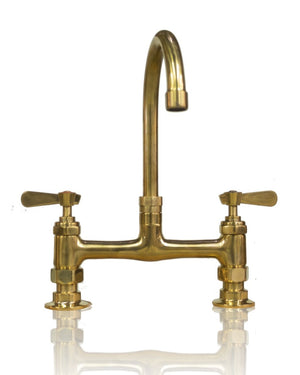 Unlaquered Natural Brass 8 inch Bridge Faucet 6 inch Arched Spout Deck Mount w/ Lever Handles