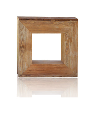 Modern Farmhouse Reclaimed Wood Open Square Side Table Handmade Minimalist Barn Wood Table
