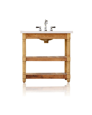 "36"" Reclaimed Wood Bath Vanity Italian Quartz Top Open Shelf Single Bath Console"
