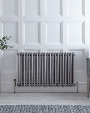 Raw Metal Lacquered Horizontal Traditional Cast-Iron Style Radiator - 23.5'' x 40''