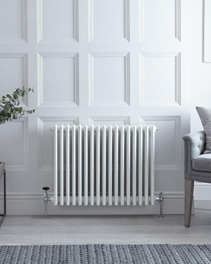 "White Powder Coated Traditional Cast Iron Style Radiators - 23.5"" x 30"""