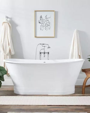 "67"" Kateryn Bateau Cast Iron Skirted Tub - Black"