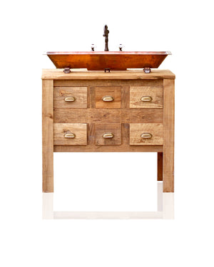 "Copper Trough Sink 36"" Reclaimed Wood Bath Vanity Cabinet Apothecary Chest Single Bath Console Package"