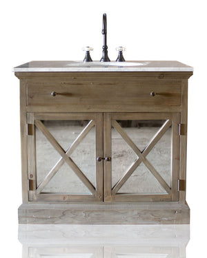 "Small 36"" Reclaimed Wood & Carrera Marble French Farmhouse Style Single Bath Vanity Cross Beam Mirrored Cabinet Doors"