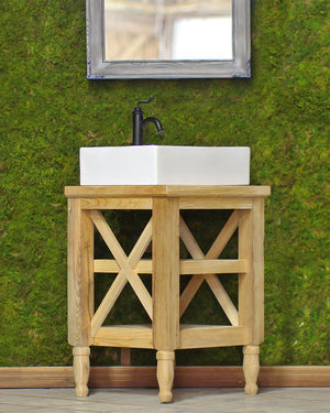 Small Reclaimed Wood Hand Crafted 26 French Provincial Barn Wood Cross Beam Bath Vanity White Porcelain Apron Trough Sink Package""