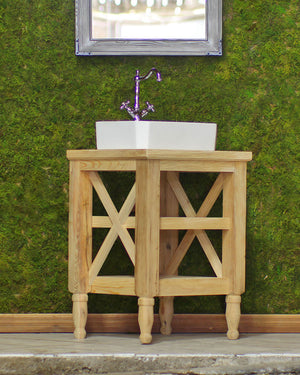 Reclaimed Wood 26 Hand Crafted French Provincial Barn Wood Cross Beam Bath Vanity White Porcelain Modern Trough Sink Package""