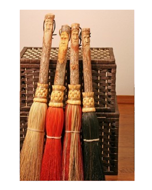 Besom Round Carved Hearth Broom by Scheumack Broom