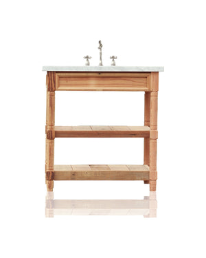 "36"" Reclaimed Wood Bath Vanity Carrera Marble Top Open Shelf Single Bath Console"