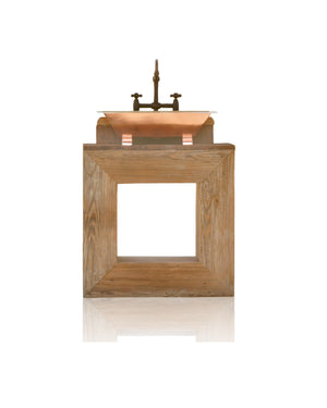 Reclaimed Wood Square Bath Vanity Minimalist Copper Trough Sink Handmade Single Bath Console Package
