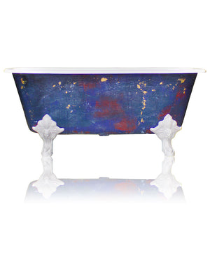 New Square Cast Iron Clawfoot Bathtub Trompe L\'Oeil Antiqued Lagniappe Freestanding Claw Tub Package, Degas Blue