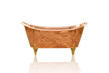 Large 65  Double Slipper Antique Inspired Freestanding Natural Copper Clawfoot Bathtub