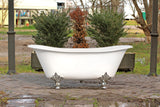 "New White 67"" Antique Inspired Double Slipper Cast Iron Porcelain Clawfoot Bathtub Package Chrome Deco Feet"