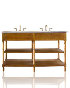 "Large 62"" Acadian Style Open Shelf Double Bath Vanity Light Birch Marble Top Open Console Vanity"