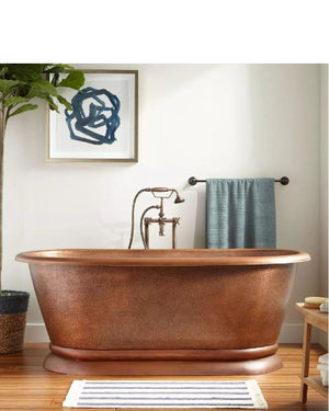 Kaela Hammered Copper Pedestal Tub