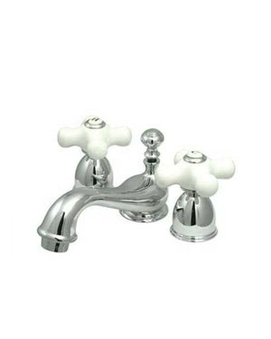 Chrome Kingston Brass Restoration Mini Widespread Bath Basin Faucet Porcelain Cross Handles