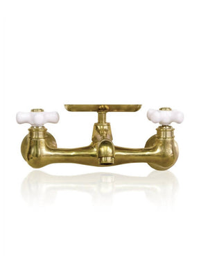 Natural Brass Wall-Mount Short Swivel Spout Utility Bridge Faucet Porcelain Cross Handle + Soap Dish