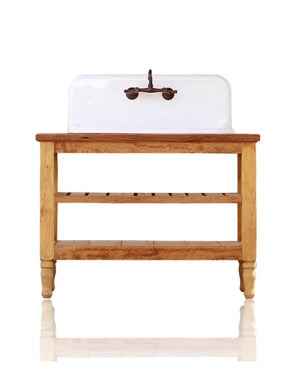 "Reclaimed Wood 48"" French Provincial Vanity High Back Farm Sink Stand Package Original Porcelain Cast Iron Farm Sink"