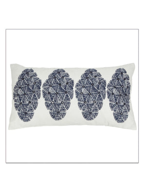 Sofia Navy Lumbar Pillow by Allem Studio